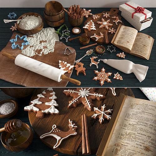 christmas cooking gingerbread 3d model max obj mtl fbx mat 1