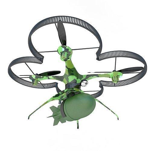 military drone quadcopter with bomb 3d model max obj mtl 3ds fbx mat 1