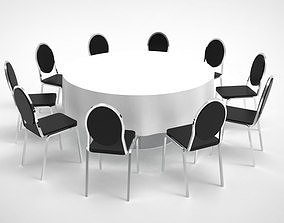 chair Round table set 3D