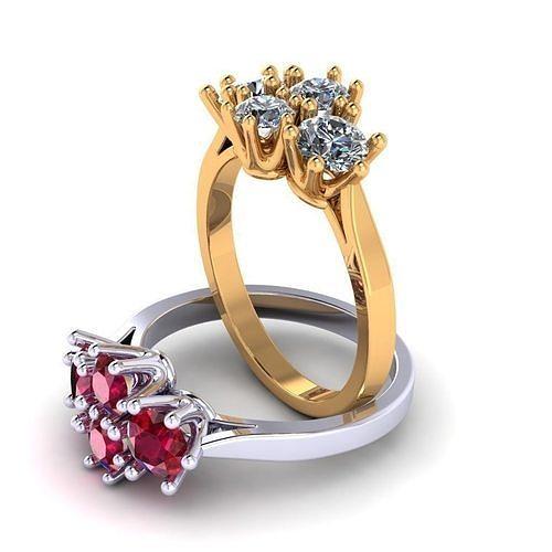 ring with 4 stones  3d model obj mtl 3ds stl 3dm 1
