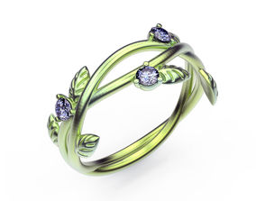 nature 3D printable model Ring Leafs and Gems