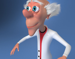 Mad Scientist Cartoon Rigged 3D Model