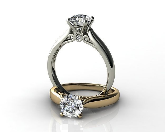 1cts diamond engagement ring 3d model obj mtl stl 3dm ztl 1