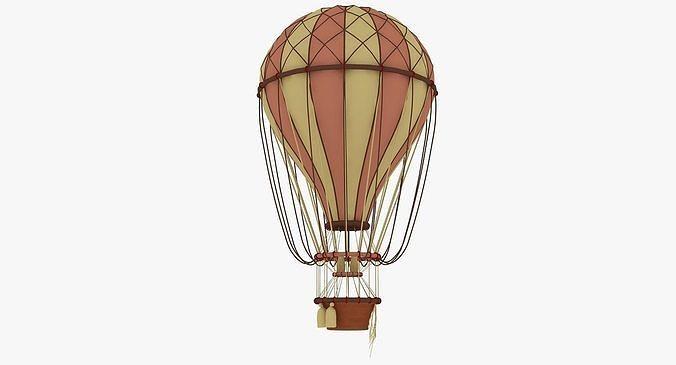 air balloon 3d model low-poly max obj mtl 3ds fbx 1