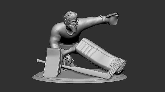 hockey player goalie collectible figure statue 3d print pose 08 3d model obj mtl stl 1