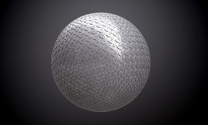 metal diamond plate dirty seamless pbr texture 3d model obj mtl 1