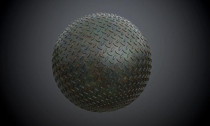 metal diamond plate military seamless pbr texture 3d model obj mtl 1