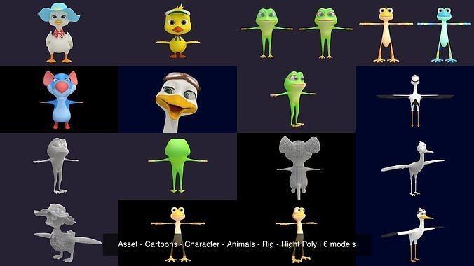asset - cartoons - character - animals - rig - hight poly 3d model max obj mtl fbx ma mb hrc xsi tga 1