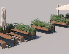 exterior restaurant seating set 3D