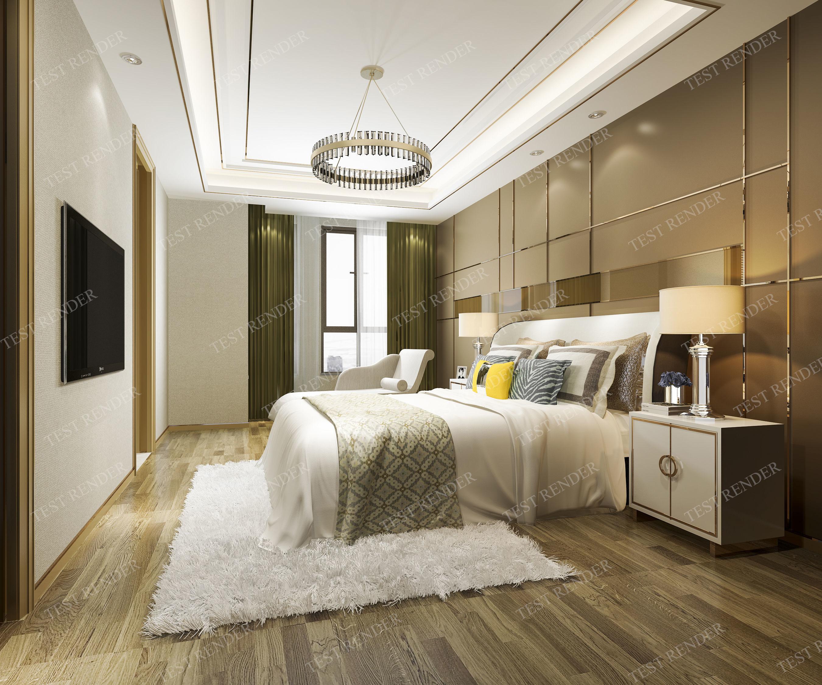 3D luxury modern bedroom suite in hotel furniture