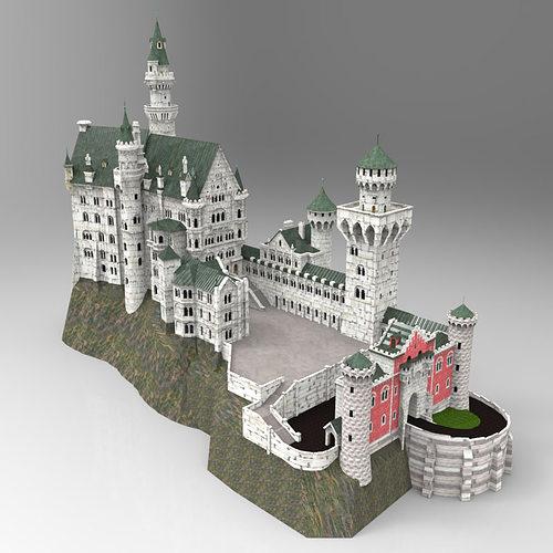 neuschwanstein castle in obj and fbx formats 3d model obj fbx mtl pdf 1