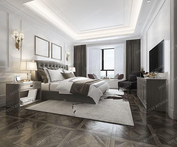 luxury classic modern bedroom suite in hotel 3d model max 3ds fbx 1