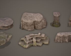 3D asset Cliff Rock Set 4K PBR