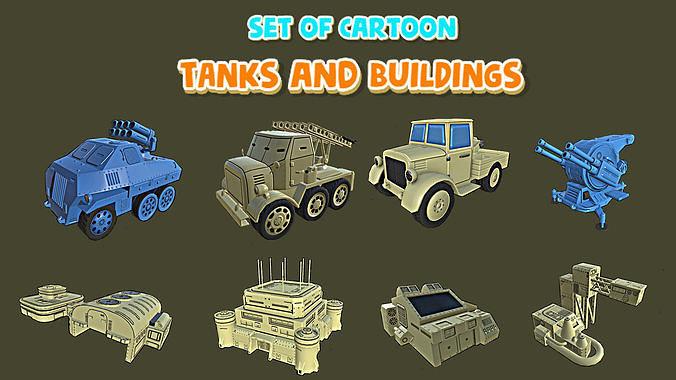 set of cartoon tanks and buildings 3d model obj mtl 3ds fbx stl 1