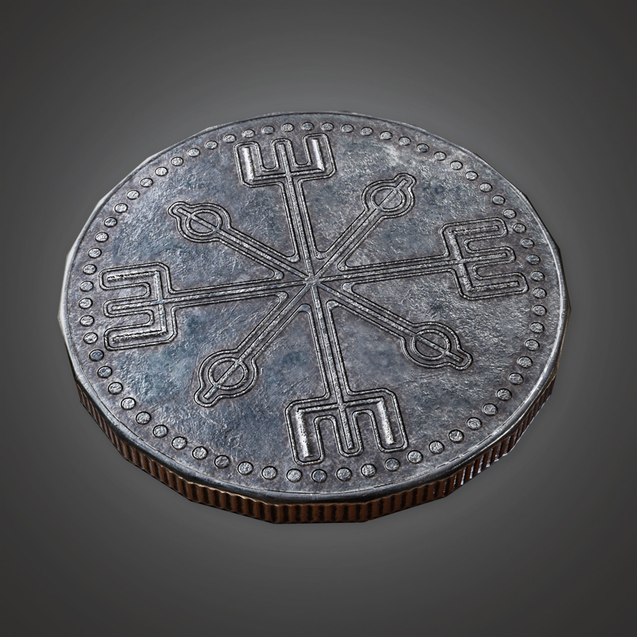 TRS - Ancient Treasure Coin 02 - PBR Game Ready model