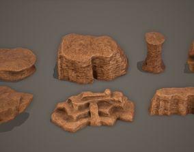 Desert Cliff Rock Set Low-Poly PBR 3D model
