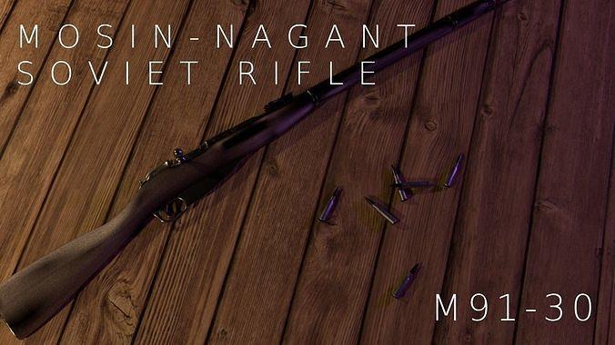 mosin-nagant soviet 91 30 rifle 3d model obj mtl 3ds fbx stl dae x3d 1