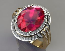 3D printable model Oval Ruby Ring