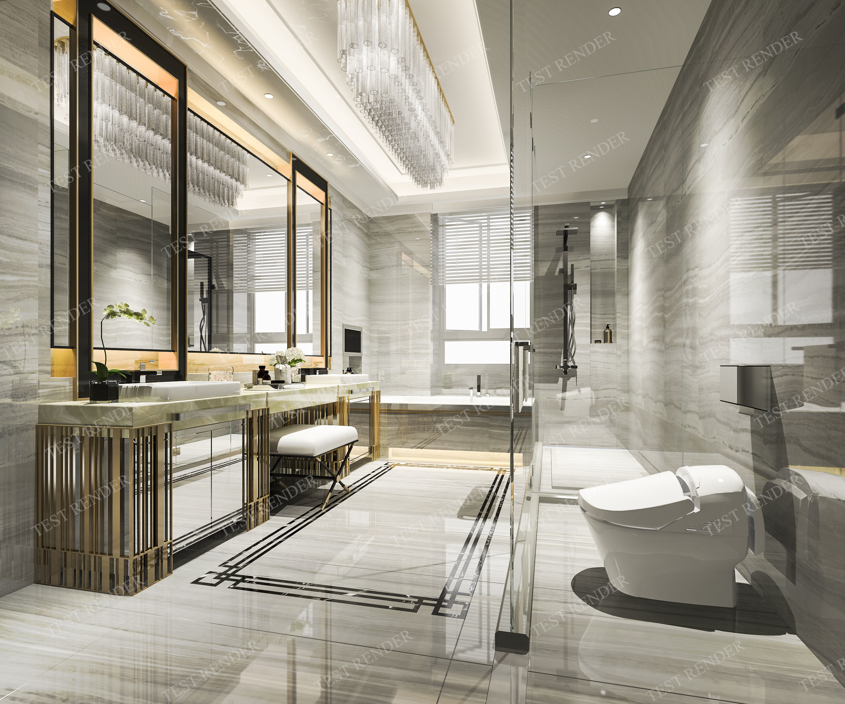 Modern Luxury Marble Toilet And 3D Model