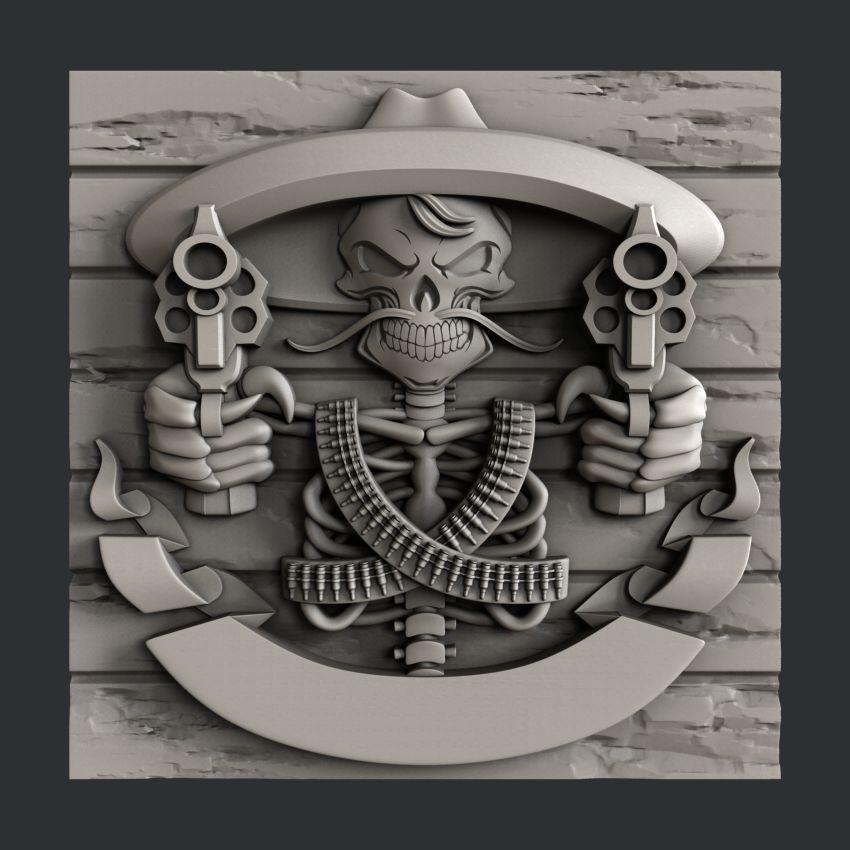 3d STL models for CNC or 3d printer Skull guns | 3D Print Model