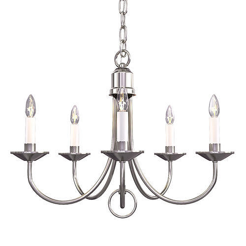 progress lighting 5-light brushed nickel chandelier 3d model max obj mtl 1