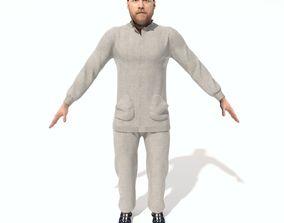 3D Adult Beard Man in Sweatsuit