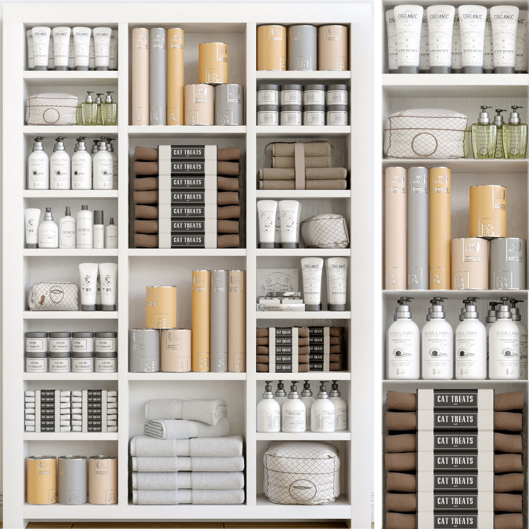 Cabinet with cosmetics