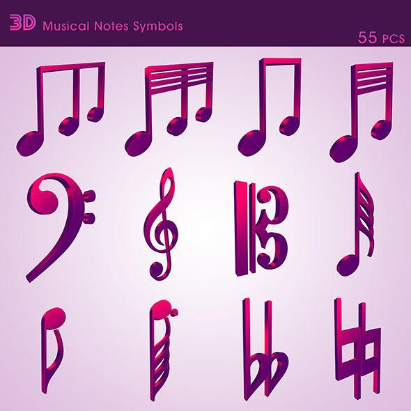 3D Musical Notes Symbols 55 pcs