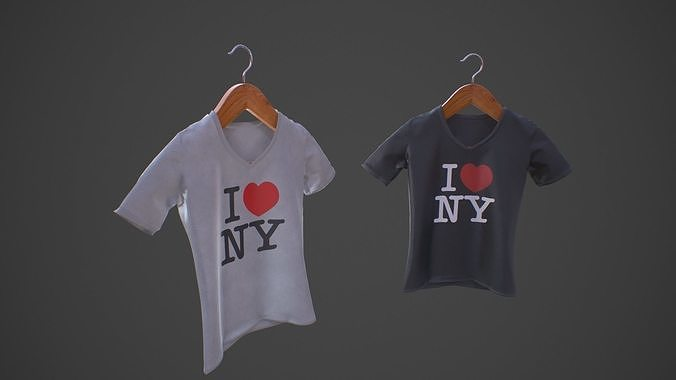 t-shirt  v-neck on wooden hanger - i love ny  3d model low-poly max obj mtl 3ds fbx 1