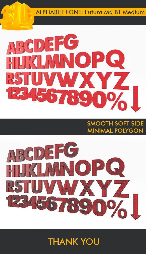 Alphabet Font Futura Md BT Medium 3D Modeling