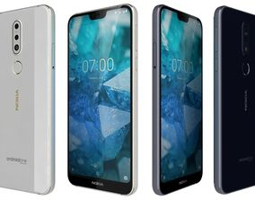 Nokia 7 1 Gloss midnight blue and Gloss Steel 3D