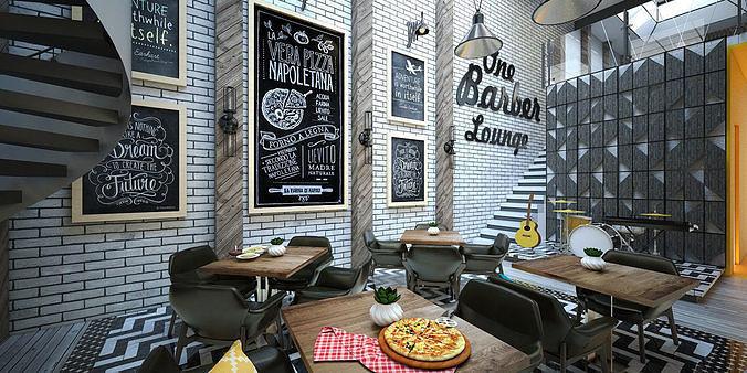 barber restaurant 3d model skp 1