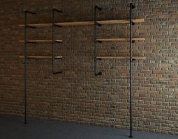 Industrial style pipe shelves 3D model