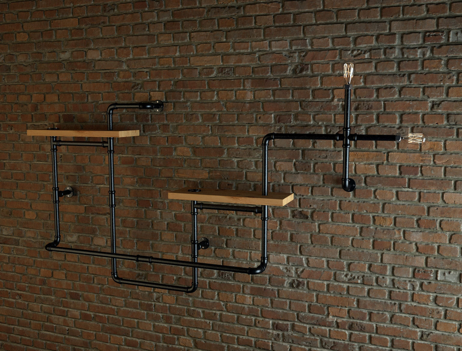 Industrial Style Pipe Shelves Free 3d Model Max Cgtrader Com