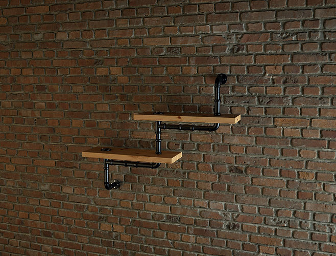 Industrial style pipe shelves free 3d model max - Industrial style mobel ...