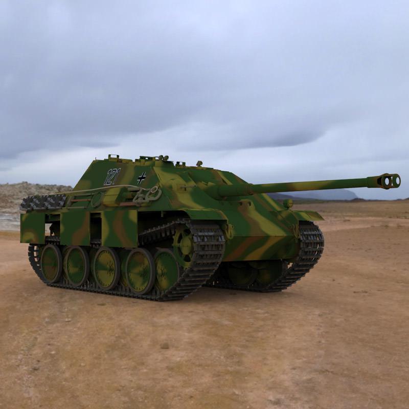 Jagdpanther tank destroyer 3d model max cgtrader com