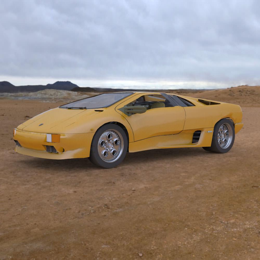 Lamborghini Diablo: Lamborghini Diablo Studio Max Obj 3D Model MAX OBJ MTL PDF