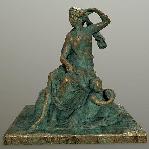 gold  statue  3d model low-poly obj mtl fbx blend 1