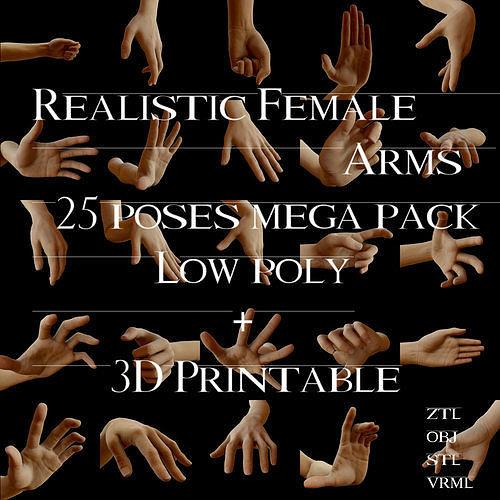 realistic female arms 25 poses 3d model low-poly obj mtl stl ztl wrl wrz 1