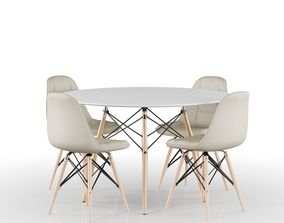 3D Set Eames Table and Chairs
