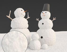 Snowman 3d model christmas