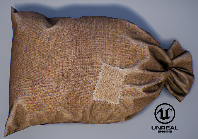 old bag from burlap with patch pbr game-ready 3d model low-poly max obj mtl fbx uasset 1