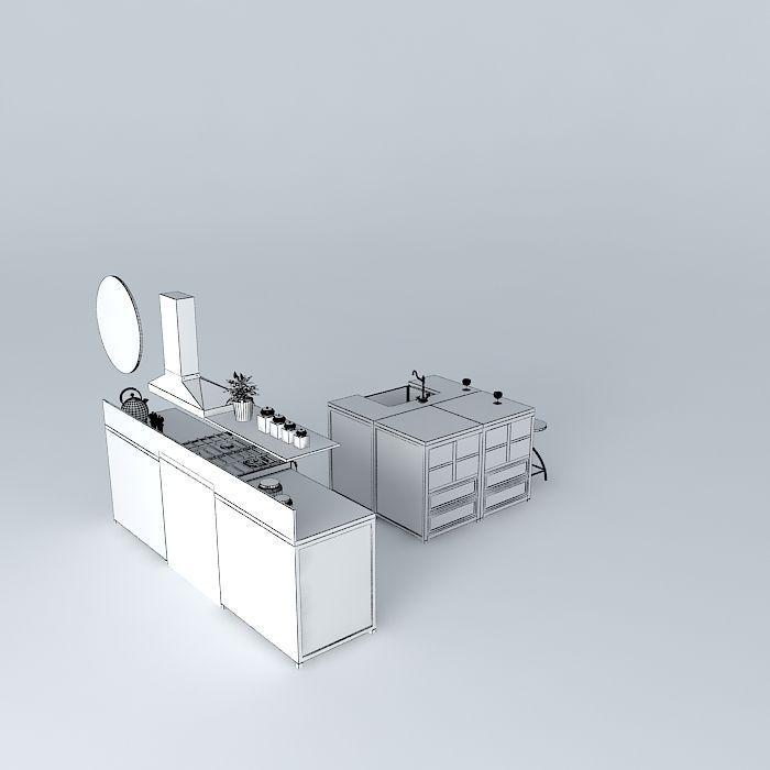 Zinc the kitchen island world houses 3d model max obj for Kitchen set zink