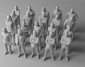 3D model 20 low poly people