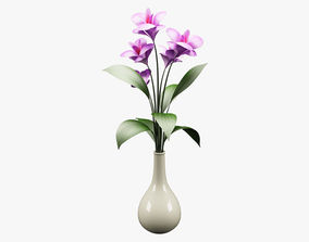 Realistic Potted Flower 002 3D asset