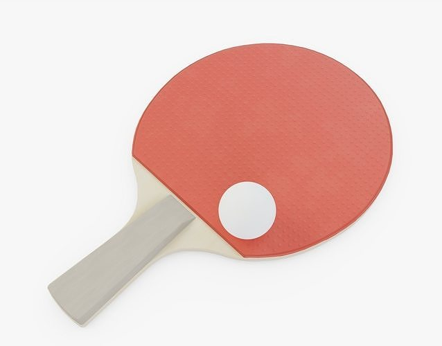 table tennis paddle and ball 3d model obj mtl 3ds fbx stl blend 1