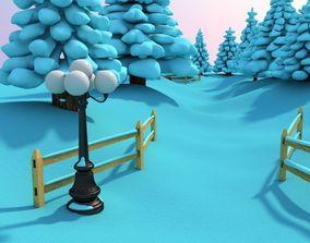Snowy Outdoor Scene 3D model