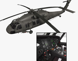 UH-60L Blackhawk with nice interior 3D Model
