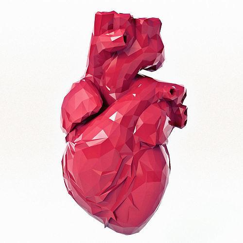 heart low poly print 3d model obj mtl fbx stl 1