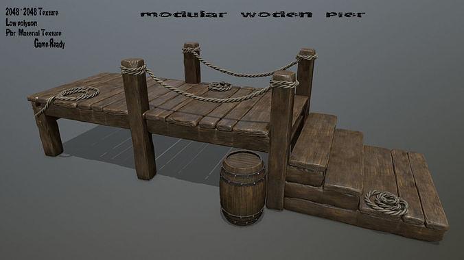wooden pier  3d model low-poly obj mtl fbx blend 1